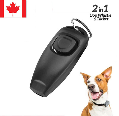 New 2 in 1 Dog Pet Cat Training Black Clicker & Whistle Click Trainer Obedience