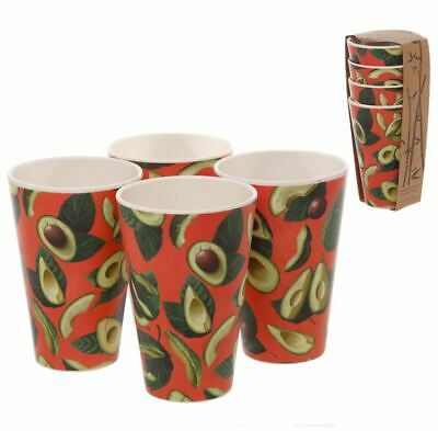 Avocado Reusable Bamboo Eco Friendly Bio Degradable Set Of 4 Cups Picnic Cup