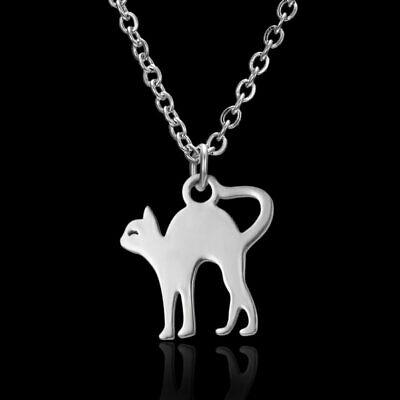 Silver Stainless Steel  Animal Cat Pendant Necklace Fashion Women Jewelry Gift