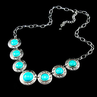 Chain Gemstone Turquoise 925 Silver Plated  Men Womens Vintage Necklaces Round