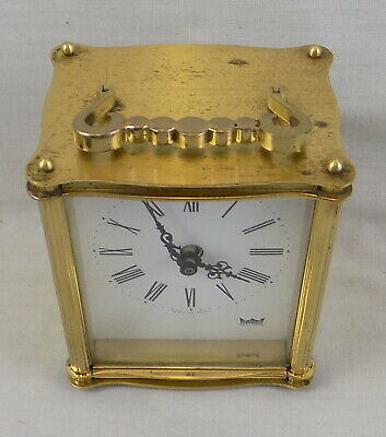 1970s VINTAGE SMITHS 'LOUIS' ELECTRO-MECHANICAL BRASS CARRIAGE CLOCK - WORKING