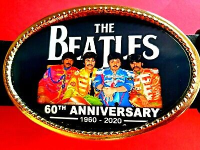 ***THE BEATLES***60th ANNIVERSARY COMMEMORATIVE Photo BUCKLE - NEW!