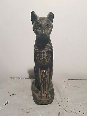 Rare Antique Ancient Egyptian Statue Goddess Bastet cat Isis Scarab 1860-1790BC