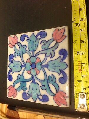 "VINTAGE KRAFT HANDPAINTED 3"" TILE No 2"
