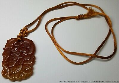 Antique Chinese Late Qing Carved Amber Quartz Amulet on Hand Knotted Necklace
