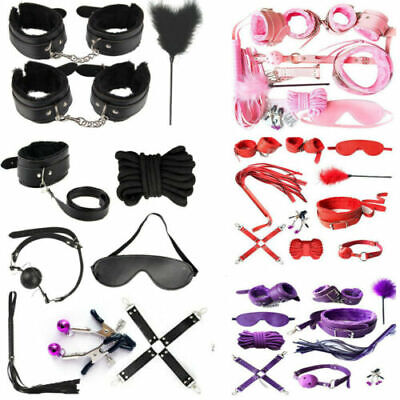 Adult-Sex-SM-Toys-Handcuffs-Cuffs-Strap-Whip-Rope-Neck-Bandage-Sexy-SM-10pcs