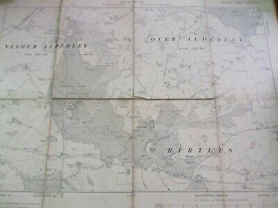 Antique Map Of Alderley,( Over And Nether) Also Birtles. 1910. 8 Sections Folded