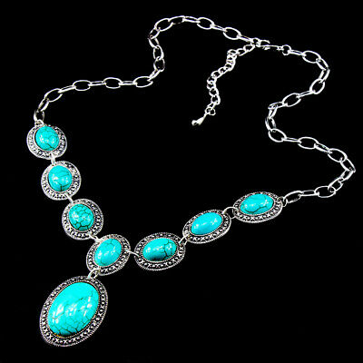 Gemstone Jewelry Charm Turquoise 925 Silver Plated Men Womens Vintage Necklaces