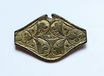 AUTHENTIC MEDIEVAL VIKING GOLD PLATED BRONZE FRAGMENT- 8th-10th cent. A.D.
