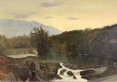Fine Antique River Landscape Oil Painting On Canvas - Rugged Hills/ Moving Water
