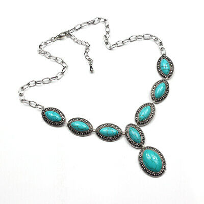 Gift Charm Gemstone Turquoise 925 Silver Plated Men Womens Vintage Necklaces