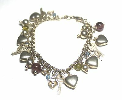 """.925 STERLING SILVER Charm Bracelet With 29 Charms, 7"""" Length, 34.1g - L24"""