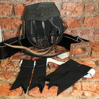 Traditional Scottish Black Leather Sporran With Belt & Flashes Accesories - L24