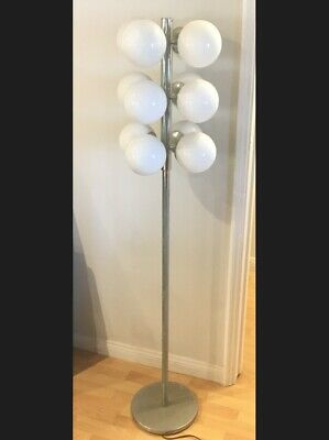 Glass 12 Light Vintage Mid Century VV France French Chrome Floor Lamp Art Deco