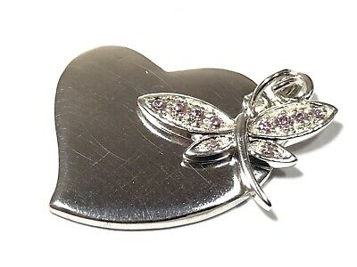 Beautiful Ladies Sterling Silver Heart & Dragonfly Pink CZ Necklace Pendant