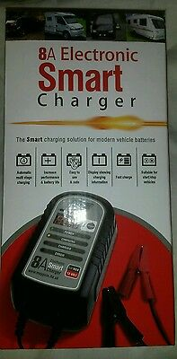 Maypole 8A 12v Electronic Smart Battery Charger MP7428 Car Tractor Van Motorhome