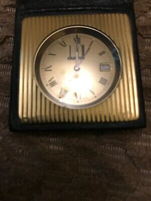 Dunhill Gold Plated Memoquartz Vintage Travel Clock Good Condition 1970's