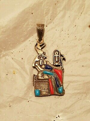 Rare Antique Ancient Egyptian Silver Hanger God Horus protection life1850-1760BC