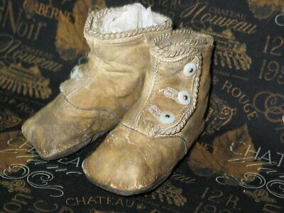 Sweet Antique Vintage Baby  Doll Shoes-1900s Victorian Edwardian High Button