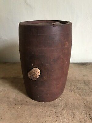 Early Antique Wooden Treen Handmade Small Keg Barrel Original Red Paint AAFA