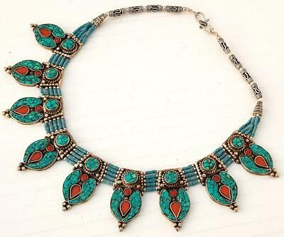 Stunning Silver Plated New Tibetan Turquoise Coral Handmade Nepalese Necklace