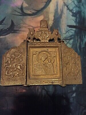 "Antique Russian icon ""Mother of God of Kazan"" Triptych Brass Bronze Orthodox"