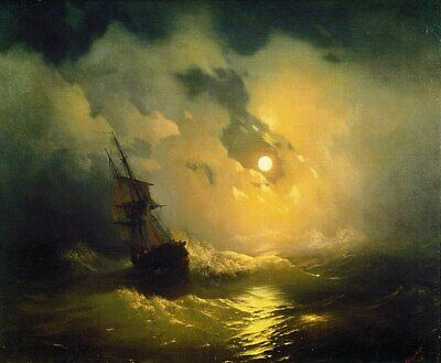 """high quality oil painting handpainted on canvas """"Stormy sea at night"""""""