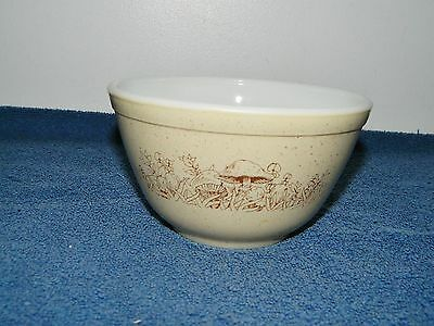 Pyrex Brown White Forest Fancies Mushroom Nesting Mixing Bowl #401