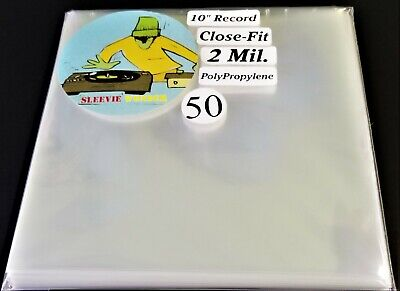 """50 Ten Inch Record Close Fit Outer Sleeves 2mil Plastic No Flap 10"""" 78rpm cover"""