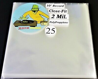 """25 Ten Inch Record Close Fit Outer Sleeves 2mil Plastic No Flap 10"""" 78rpm cover"""