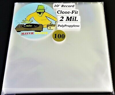 """100 Ten Inch Record Close Fit Outer Sleeves 2mil Plastic No Flap 10"""" 78rpm cover"""