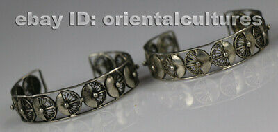 Tribal exotic chinese handmade miao silver bracelet (one pair)