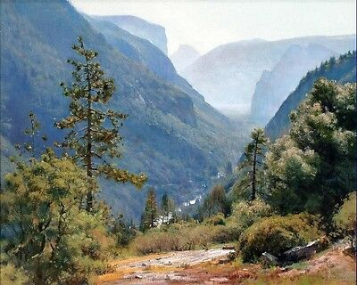 Valley Landscape Oil painting Art Giclee Printed on Canvas 16X20 inch P022