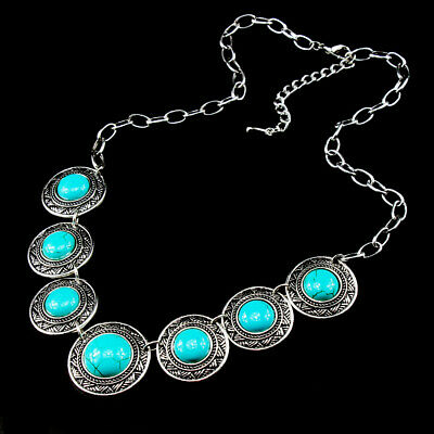 Plated Silver 925 Alloy  Gemstone Charm Turquoise Men Womens Vintage Necklaces