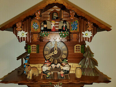 Vintage German Carved Musical Cuckoo Clock W/ Dancers Water Wheel Beer Drinkers