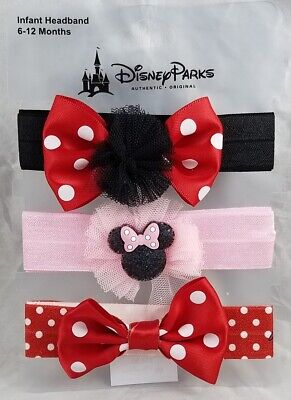 Disney Parks Minnie Mouse Bow Infant Headband Pack of 3 / Baby 6-12 Months - NEW
