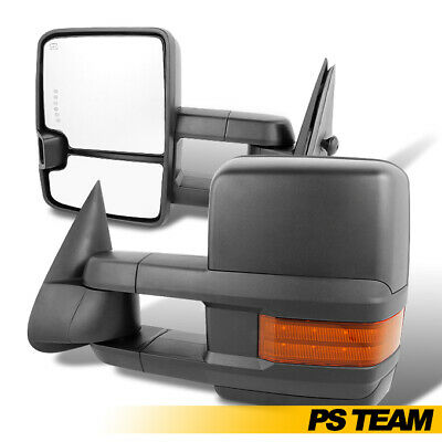 Fits 03-07 Silverado Sierra Power Extendable Amber LED Signal Towing Side Mirror
