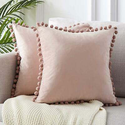 45x45cm Luxury Pom-poms Cushion Cover Without Filling Soft Particle Velvet Solid