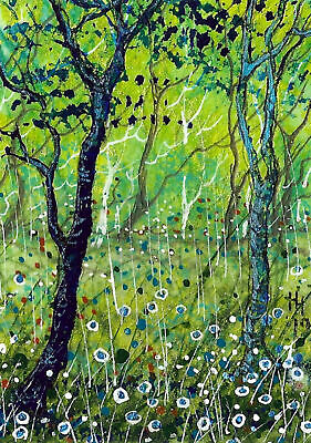 """ACEO Original """"Peace in the Forest"""" Painting - By Hélène Howse"""