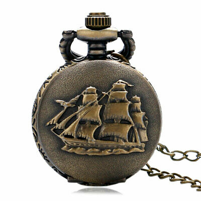 Bronze Quartz Vintage Pocket Watches Analog Retro Pendant Chain Full Hunter