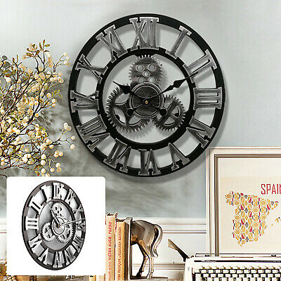 LARGE WALL CLOCK OUTDOOR GARDEN Big ROMAN NUMERALS GIANT OPEN FACE METAL 40CM