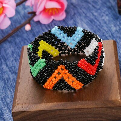 Fashion Boho Women Geometry Patterned Beads Braided Bracelet Wristband Jewelry