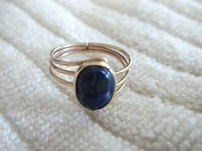 Vintage 14K Yellow Gold Carved Lapis Egyptian Scarab Ring Size 7
