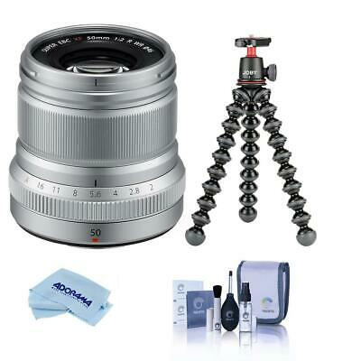 Fujifilm XF 50mm (76mm)F/2 WR Lens Silver W/JOBY GorillaPod 3K Kit /Cleaning Kit