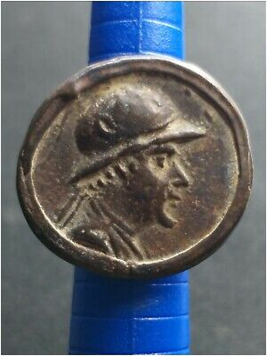 Absgr.very old backtrian amyzing very nice antique bronze coin  ring