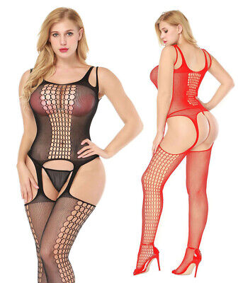 Hot Womens Sexy Fishnet Body Stocking Lingerie Hollow Out Babydoll Nightwear