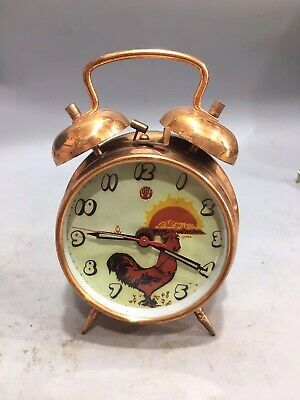 Chinese Old copper handmade cock Mechanical clock table Home decoration