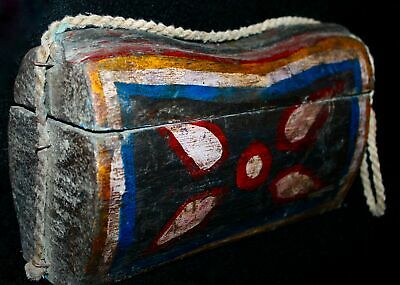 Vintage Tobacco betel nut Bag Wood Container Polychrome Sumba Indonesian Art
