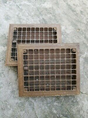 Vintage pair 1930s Pressed Steel Heat Register Vent Grates Louvered Duct Covers