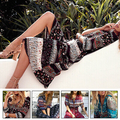 Summer Women Casual Boho Gypsy Long Dress Ladies Evening Party Beach Sundress